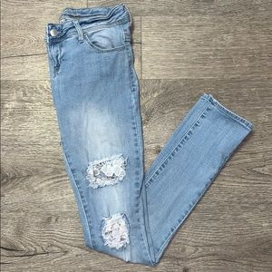 dELiA*s Lace Ripped Jeans